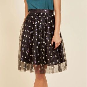 Mod Cloth Planets and Stars Skirt S